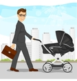 business man pushing pram or baby carriage vector image vector image