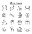 care protect charity donation icon set in thin vector image