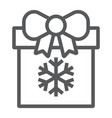 christmas box line icon present and new year vector image vector image