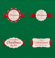 christmas labels with red ribbons collection vector image