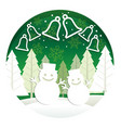 christmas with forest snowmen and b vector image