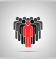 crowd people silhouette with red leader simple vector image