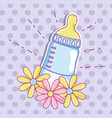 cute baby bottle with flowers vector image vector image