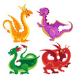 cute medieval dragons vector image vector image
