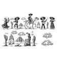 dia de los muertos skeleton in mexican vector image