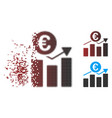 dust pixel halftone euro business chart icon vector image vector image
