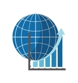 earth globe diagram and graph chart icon vector image vector image