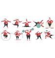 exercising santa claus sporty cute santa vector image vector image