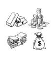 finance money set sketch gold bars stack vector image vector image