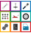 flat icon workshop set of ratchet tire vector image vector image