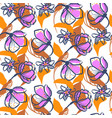 flower seamless pattern in orange and vector image