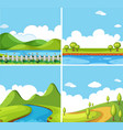 four background scenes with park at day time vector image
