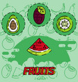 fruits flat concept icons vector image vector image