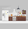 furniture design banner concept kitchen template vector image vector image