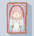 girl with weading dress picture marriage vector image vector image