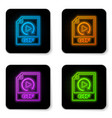 glowing neon gif file document icon download gif vector image vector image