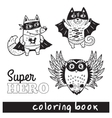 Hand drawn outline cartoon animals in superheroes vector image vector image