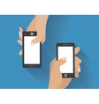 Hands holing smartphones vector image