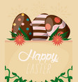 happy easter card with lettering and eggs painted vector image vector image