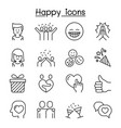 happy icon set in thin line style vector image vector image