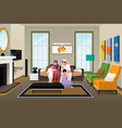 happy muslim family at home vector image vector image