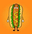hot dog cartoon pop art vector image vector image