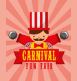 man and cannons entertainment carnival fun fair vector image vector image