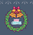 merry christmas celebration wreath bells bow vector image vector image