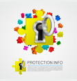 metal key and puzzle pieces vector image vector image