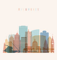 milwaukee state wisconsin skyline detailed vector image vector image