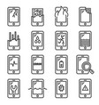 mobile phone damage icon set line style vector image vector image