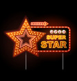 neon sign of disco star and neon text super star vector image vector image