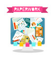 paperwork design on computer screen vector image vector image