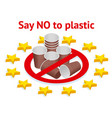 prohibit use plastic utensils in the vector image