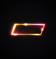 rectangle neon frame on transparent background vector image