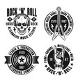 rock n roll music four emblems labels badges vector image vector image