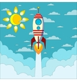 Rocket on the blue sky vector image vector image