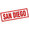 San Diego red square grunge stamp on white vector image vector image