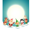 santa claus and friends celebrate christmas vector image vector image