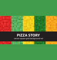 square pattern set pizza story seamless tile vector image vector image