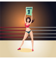 support girl on a boxing ring cartoon character vector image vector image