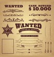 wanted poster wild west vintage criminal search vector image vector image