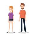 young couple character standing people vector image vector image