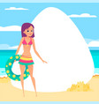 beach background young girl with rubber ring vector image
