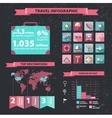 set of travel infographics on dark vector image