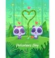 Romantic couple panda cute vector image