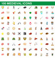 100 medieval icons set cartoon style vector image vector image