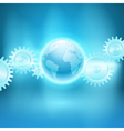 Abstract blue background with gear transmission vector image