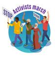activists march round design concept vector image