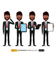 african business cartoon man standing with vector image
